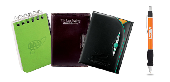 branded note pads, journals, executive folios