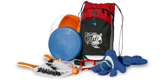 Branded recreational products, kits, camp chairs, toys, pedometers